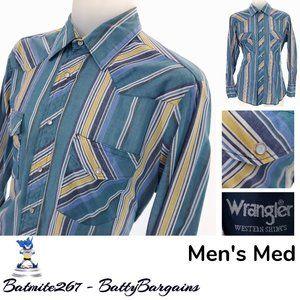 VTG Wrangler Striped Mens M Western Shirt  Snap Up